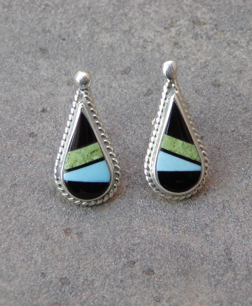 fb53b587e SHERYL EDAAKIE - Zuni Teardrop Post Earrings - Zuni Multi-stone Inlay -  Yellow Dog Trading Company