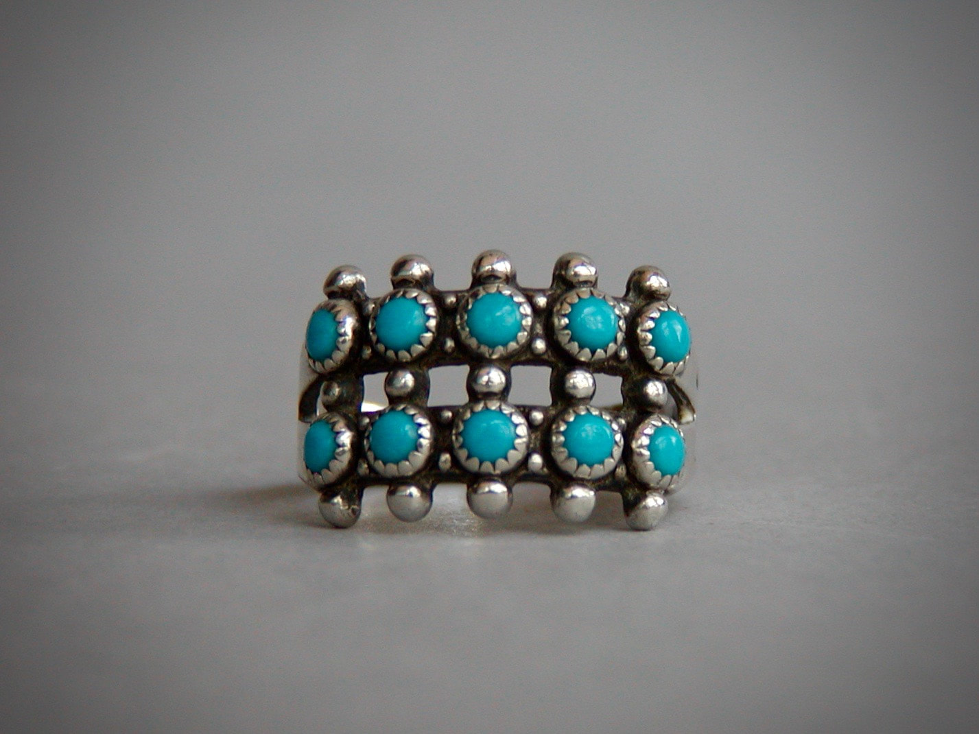 Vintage double turquoise snake eyes long ring Sterling Silver Size 4.5